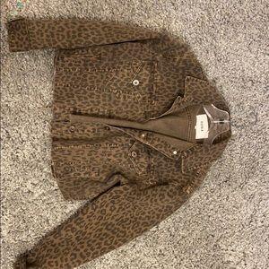 Bloomingdales cheetah jean jacket
